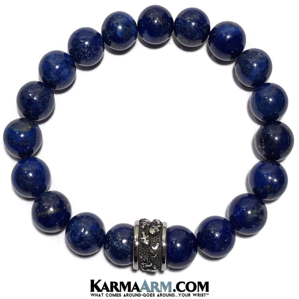 Strength Skull Jewelry Skull Bracelet Natural Lapis Bracelet Beaded Meditation Spiritual Stretch Mantra Reiki Healing Energy Boho Charm Chakra Wrap Yoga Jewelry /& Gemstone Gifts