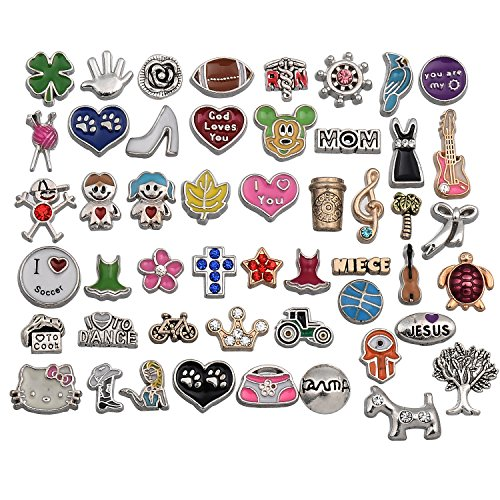 RUBYCA Metal Floating Charms for Glass Living Memory Lockets Wholesale Gold Silver Color Lot Mix 9 DIY ()