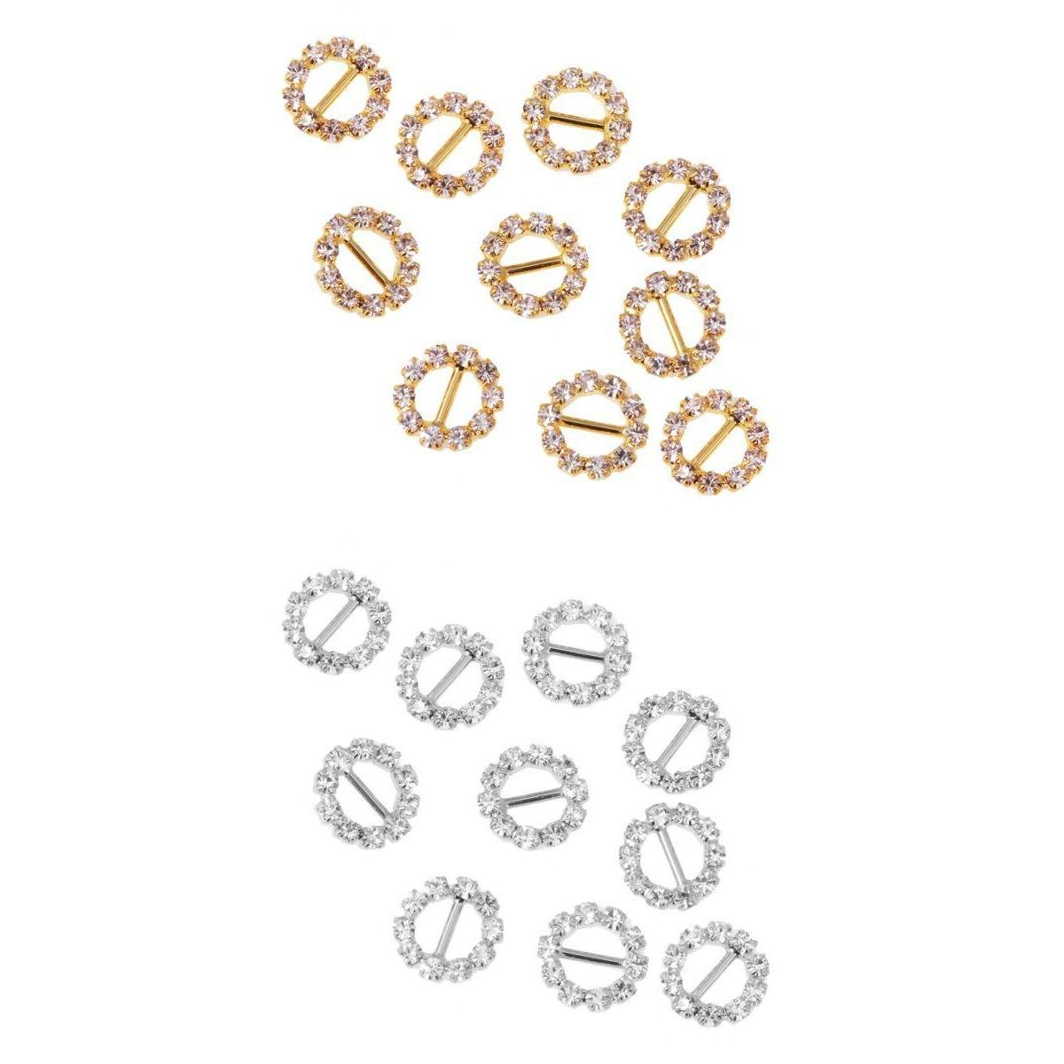 SM SunniMix 10 Pezzi Tondi Strass Wedding Nastri Fibbie Sliders 5mm Oro+10 Pezzi Tondi Strass Wedding Nastri Fibbie Sliders 5mm Argento