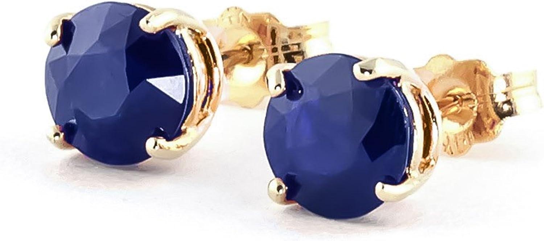 Natural y corte redondo azul Sapphire pendientes sólido 14KT oro amarillo Forever quilates pendientes para mujer color–I-J claridad–SI13,20quilates piedras preciosas studs
