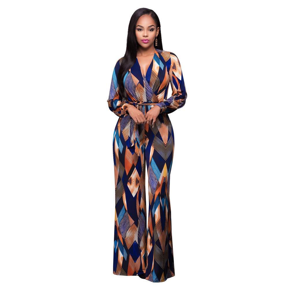Morecome,Women Dress Fashion V-Neck Print Soft Silky Long-Sleeved Lace Dress