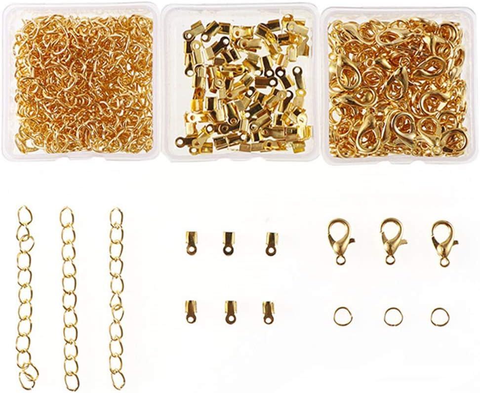 Xinlie Kit de Pulsera de Cinta Extremos de Cierre Presionado Broche de Langosta con Anillas Abiertas y Extensor de Cadena Cierres de Pulsera Broches de Langosta para Pulsera y Collar 280PCS Blanca K