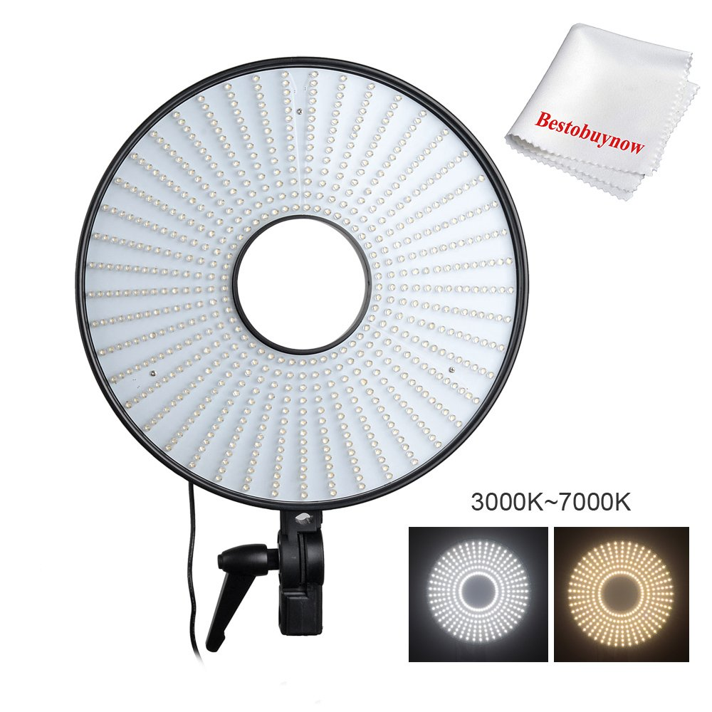 調節可能な3000 – 7000 K 630個LEDリングランプバイカラー温度ビデオスタジオライトwith L形状カメラブラケット   B016XRZQGQ