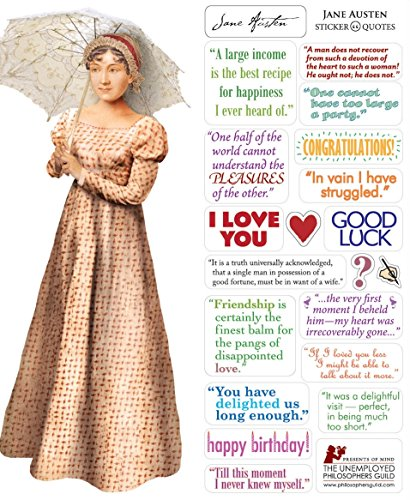 - Jane Austen Quotable Notable - Die Cut Silhouette Greeting Card and Sticker Sheet