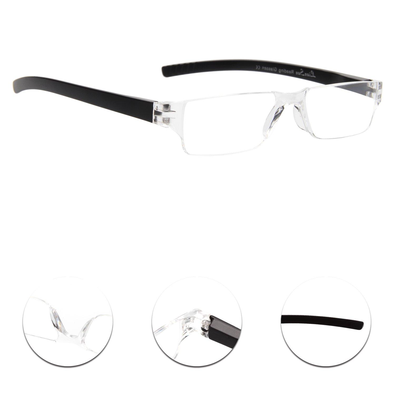 58f5a20292 LianSan Rimless Fashion Reading Glasses Mens Womens Frameless Readers  Glasses Reading Eyeglasses L2220 Black(+2.0)  Amazon.co.uk  Health    Personal Care