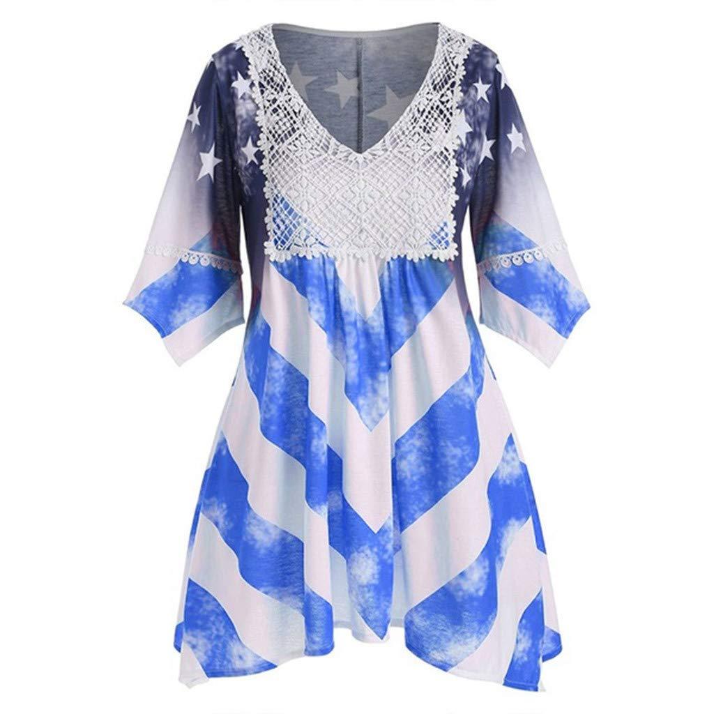 ZOMUSAR Women Flare Sleeve V-Neck National Flag Print Irregular Hem Beach Casual Dress for Ladies Blue