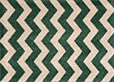 Studio 67 - Kitchen Mat - Washable Chevron Pattern Non-skid Rubber Backing for Bathroom and Kitchen Area - 1'6'' x 2'5'', Green