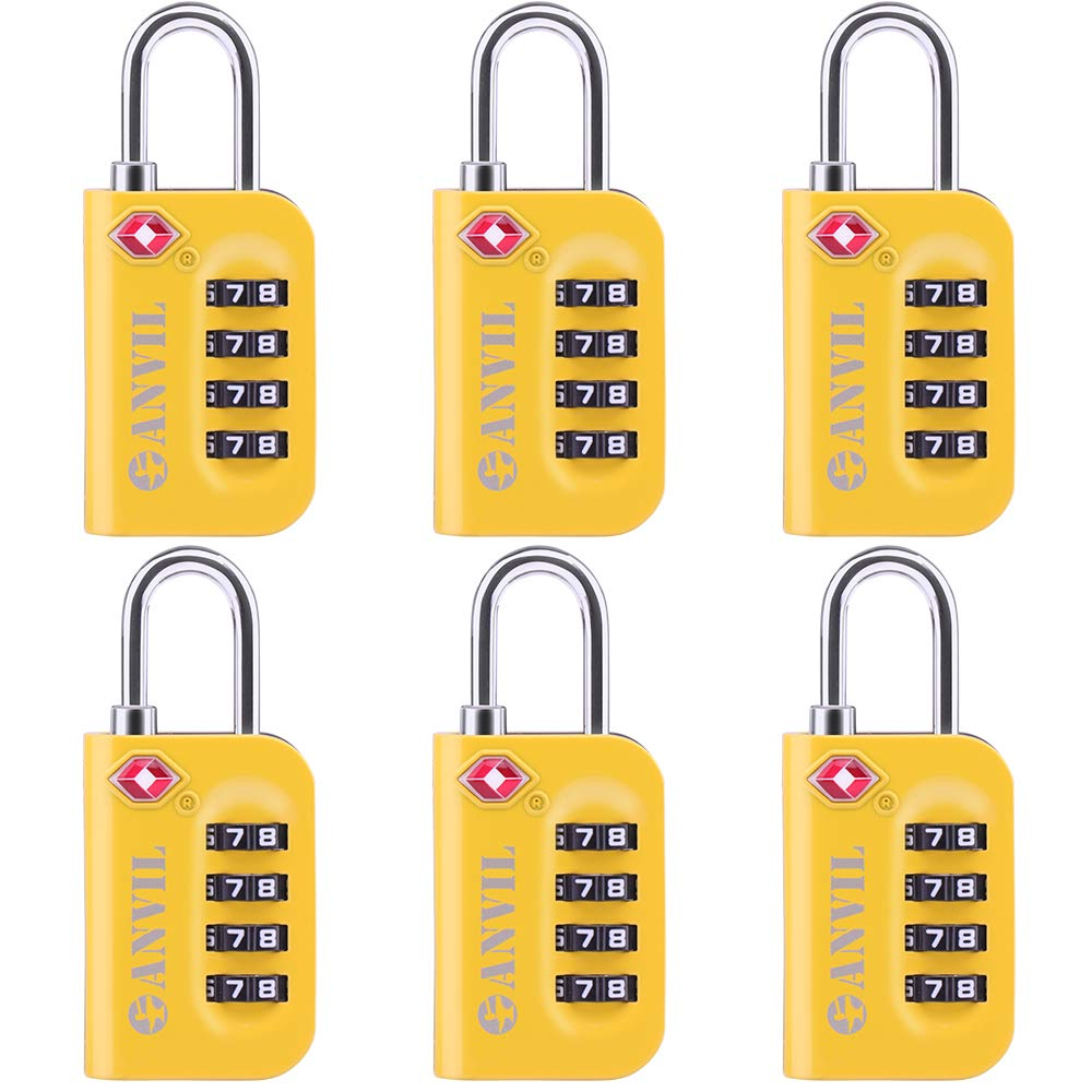 TSA Approved Luggage Lock - 4 Digit Combination padlocks with a Hardened Steel Shackle - Travel Locks for Suitcases & Baggage (YELLOW 6 PACK) by Anvil