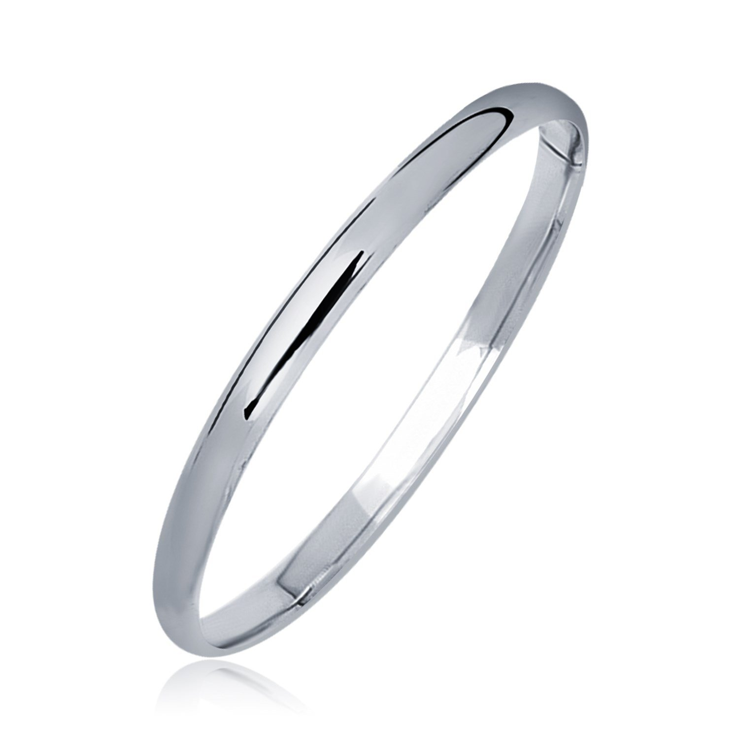 14K White Gold Dome Children's Bangle with a Polished Finish