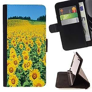 Dragon Case- Mappen-Kasten-Prima caja de la PU billetera de cuero con ranuras para tarjetas, efectivo Compartimiento desmontable y correa para la mu?eca FOR Samsung Galaxy S5 V SM-G900 G9009 G9008V- Sun flower