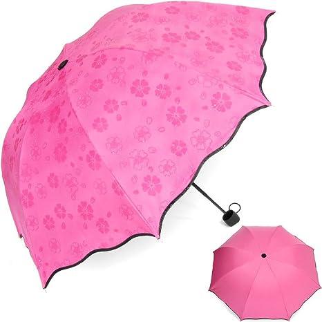 HiViolet Magic Carbonsteel Flowers Cúpula Sombrilla Sun / paraguas plegable (Rosa roja)