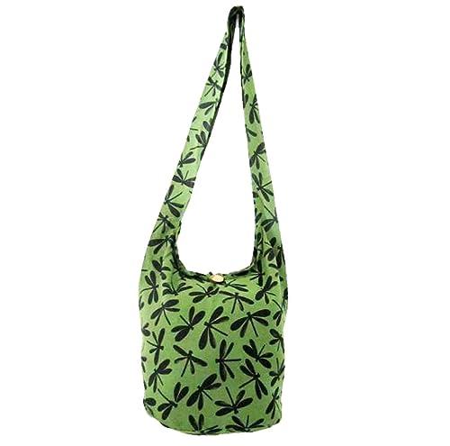 8a2ef7f8c1 Amazon.com  Dragonfly Crossbody Purse Bag Hippie Hobo Shoulder Thai Boho Sling  Purse for Women Medium (Avocado Green)  Shoes