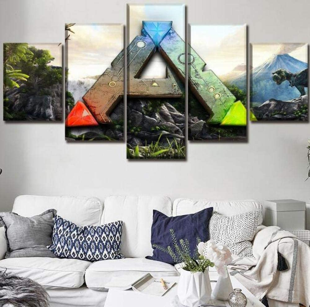 Amazon Com Wall Art 5 Pieces Ark Survival Evolved Logo Game Living Room Hd Print Picture Wall Art Canvas Posters Home Decor Size 3 Frameless Posters Prints