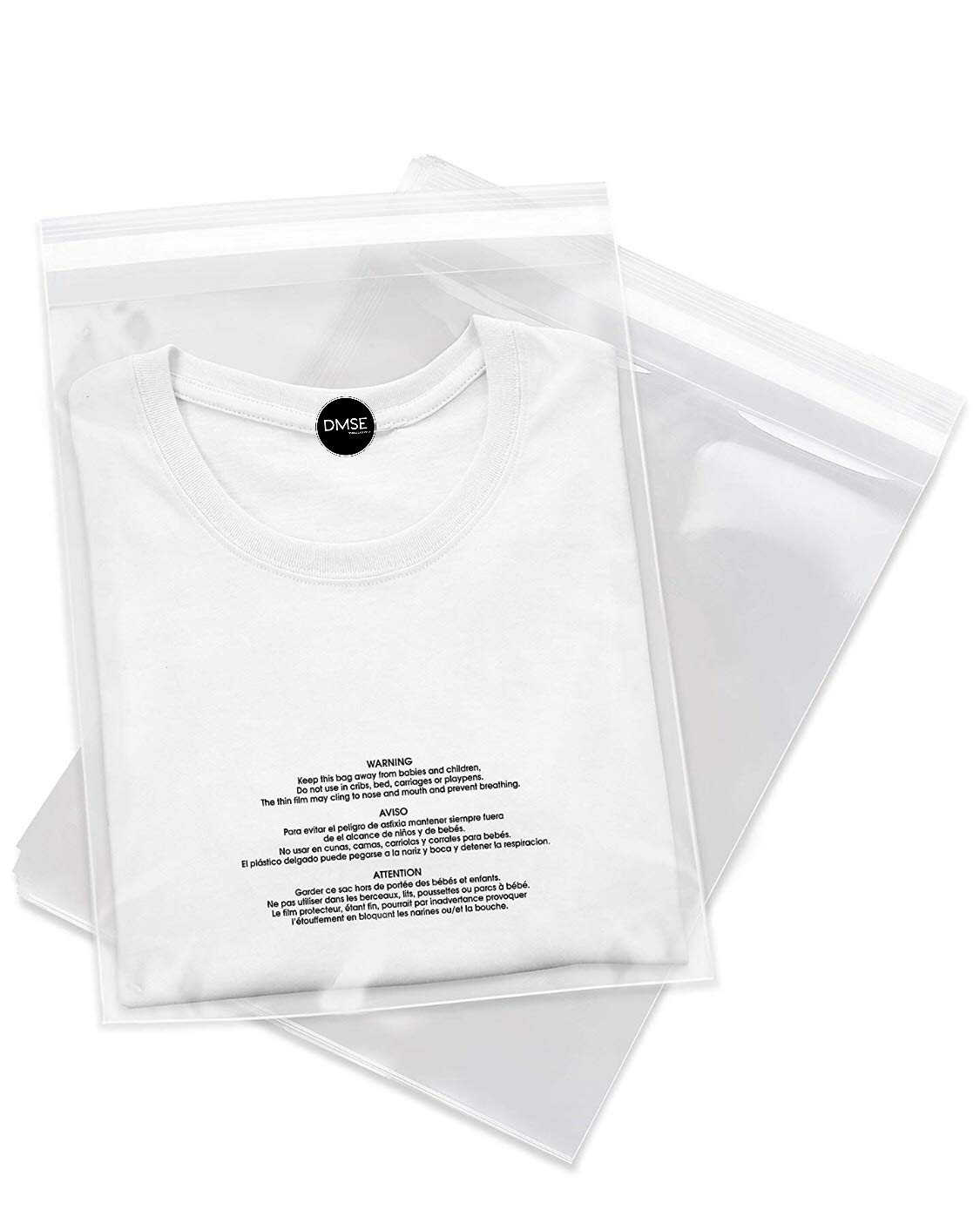 DMSE T Shirt Self Seal Poly Clear Plastic 1.5mil Clothing Merchandise Bags Pants 9 x 12