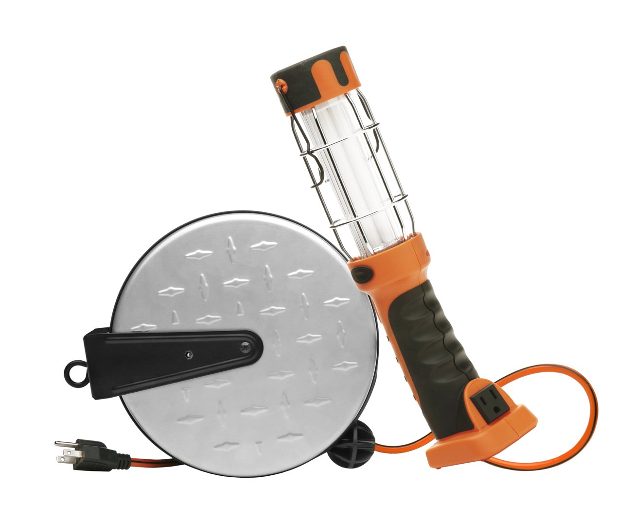 Designers Edge E318 Retractable Extension Cord with Handheld Work Light, Fluorescent, 30-Foot