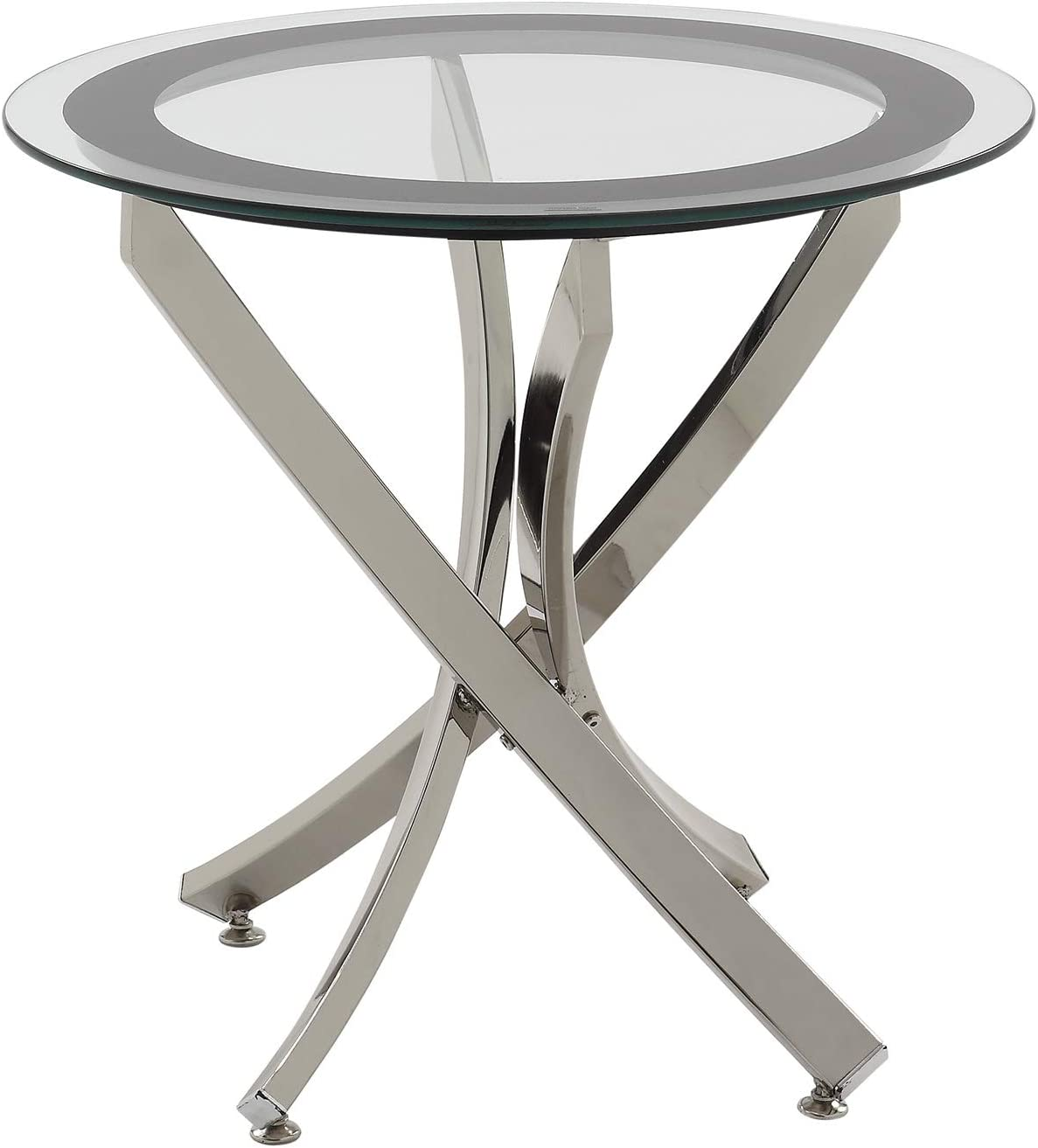 Amazon Com Norwood End Table With Tempered Glass Top Chrome And Clear Furniture Decor