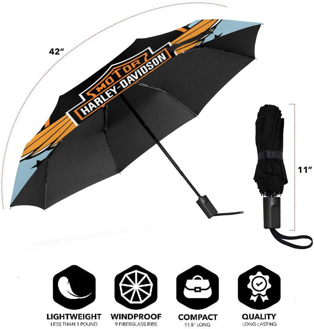Lovesofun Portable Automatic Umbrella Harley David-Son Compact Auto Open Close Folding Business Umbrellas UV Protection Automatic Tri-fold Umbrella for Men and Women