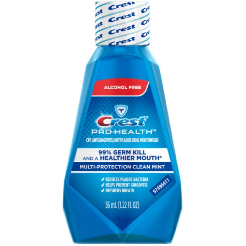 Crest Pro-Health Mutli-Protection Oral Rinse, Clean Mint, Travel Size TSA Approved, 1.22 Oz (Pack of 24)