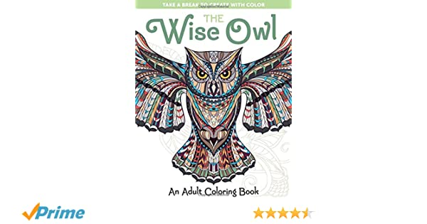 Amazon The Wise Owl An Adult Coloring Book Take A Break To Create With Color 9781940611495 Spring House Press Books