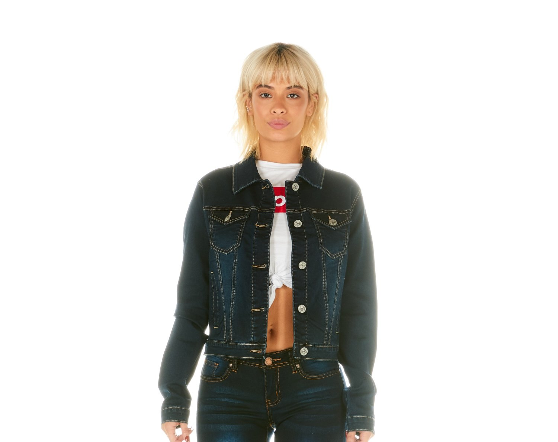 Cover Girl Junior's Womens Jeans Denim Jacket, Dark wash, Small