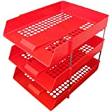 3 x RED PLASTIC FILING STORAGE LETTER TRAYS + 8 METAL RISERS RODS - DESK TIDY DOCUMENT PAPER FILING STACKING STACKER IN OUT - OFFICE SCHOOL COMMERCIAL STATIONERY SUPPLIES
