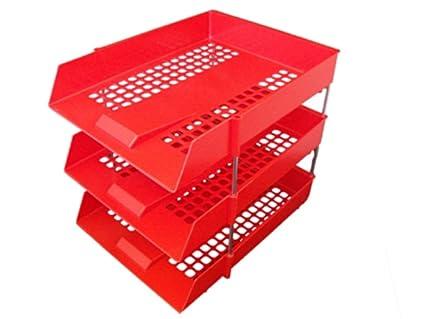 6 x rojo plástico archivador de almacenamiento carta bandejas + elevadores de metal 16 varillas –