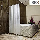 Shower Curtains ABC life SGS Certified 100% Safety EVA Material Mildew &Water Resistant No Chemical Odor Non Toxic with Hooks (Wave, 71x71 inches)