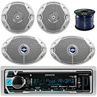 "Kenwood Bluetooth Radio KMRM315BT In-Dash Marine Audio Receiver Bundle Combo With 2x JBL MS 6x9""or 6.5"" 2-Way Coaxial Marine Speakers + 2x JBL MS6510 6.5 Boat Speakers + Enrock 50 Ft 16g Speaker Wire"