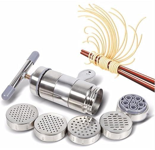 LaceDaisy M/áquina para Hacer Pasta Acero Inoxidable Pasta Noodle Maker Vegetal Fruta Exprimidor Prensa Fideos de M/áquina Herramienta de Cocina con 5 Moldes de Fideos