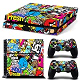 GoldenDeal PS4 Console and DualShock 4 Controller Skin Set - Collage Brand Graffiti Design - PlayStation 4 Vinyl