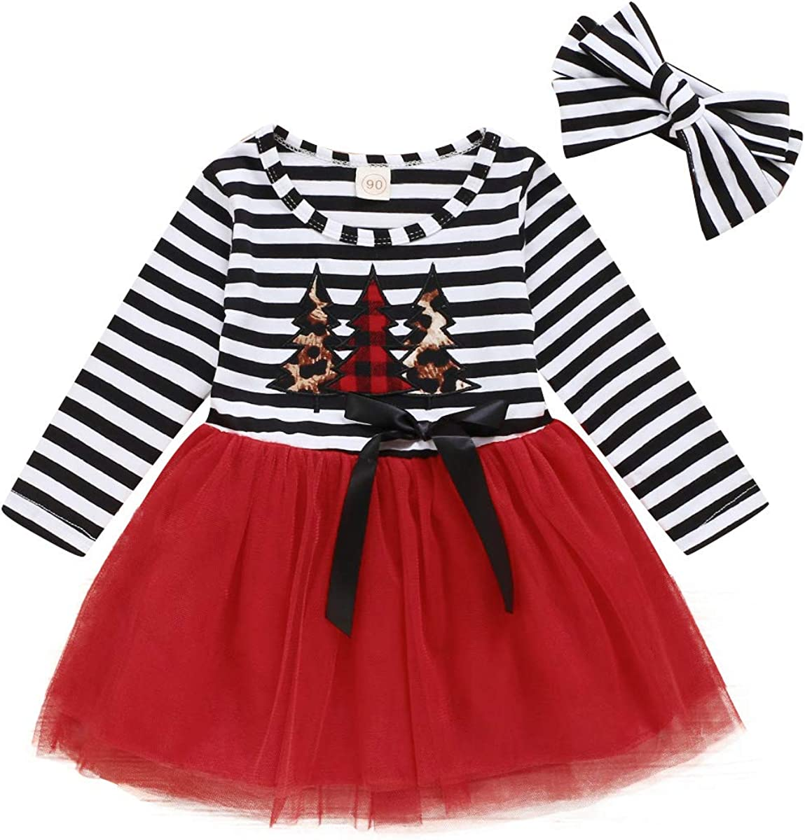 puseky Kids Baby Girl Christmas Dress Xmas Tree Long Sleeve Mesh Dress with Headband