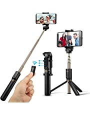 BlitzWolf Selfie Stick Tripod with Remote for iPhone XS MAX XR X 8 8 Plus 7 7 Plus AndroidSamsungGalaxy 3.5-6 inchScreen - 3 in 1 Extendable Monopod Mini PocketWireless SelfieStick 360° Rotation