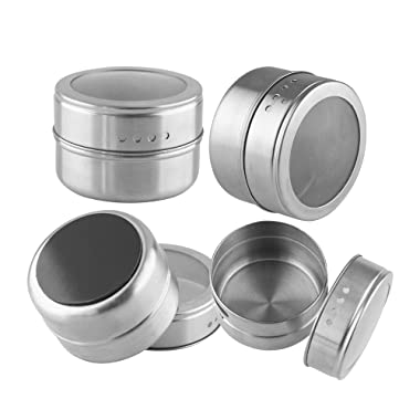 Funnytoday365 Bbq Portable Salt Pepper Handy Stainless Steel Spice Jars Flavoring Container Magnetic Tins
