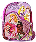 Disney Princesses Shimmering Beauty Full Size 16 inch Kids Backpack Purple and Pink