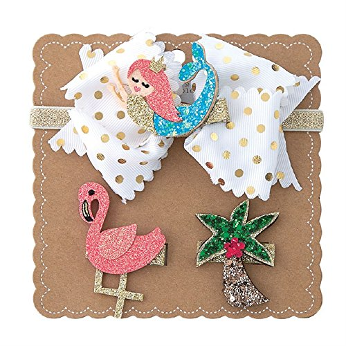 Pie Styles Mud (Mud Pie Mermaid 3 in 1 Bow Set Gold Elastic Headband Small)