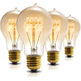 Vintage Edison Bulb, DORESshop A19 Dimmable 60W Edison Tungsten Light Bulb, Vintage Antique Incandescent Bulbs, Amber Glass, 360LM, Warm White E26 Edison Bulbs for Home Light Fixtures Decor (4 Pack)