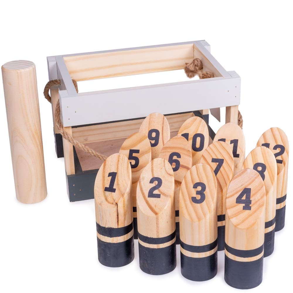 Deluxe Natural Wood Molkky Lawn Game Set - Includes 13 Pieces Plus Bonus Carrying Crate!