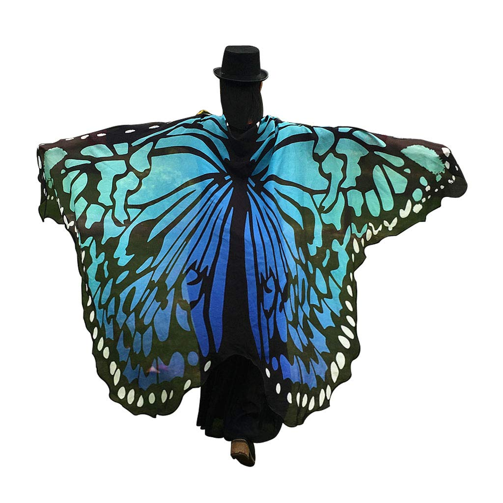 GRACIN Halloween Butterfly Wings Shawl Soft Fabric Fairy Pixie Costume Accessory Choker Ties Multicolor) G50353
