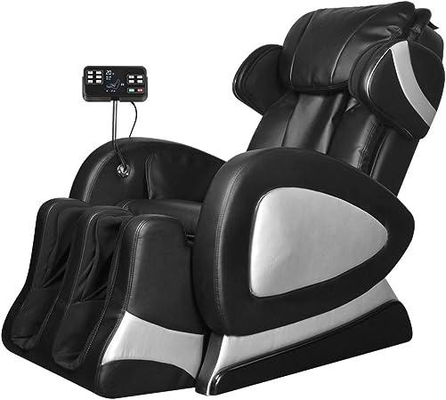 Tidyard Fauteuil de Massage Electrique en Cuir Artificiel Repose Pied et Dossier Réglables Massage de Pétrissage Doux et Confortable Noir