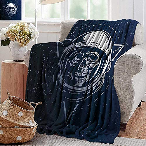 PearlRolan Picnic Blanket,Outer Space,Dead Skull Head Icon Cosmonaut Costume Astronomy Terrestrial Horror Scare Image,Grey Blue,Colorful | Home, Couch, Outdoor, Travel Use -