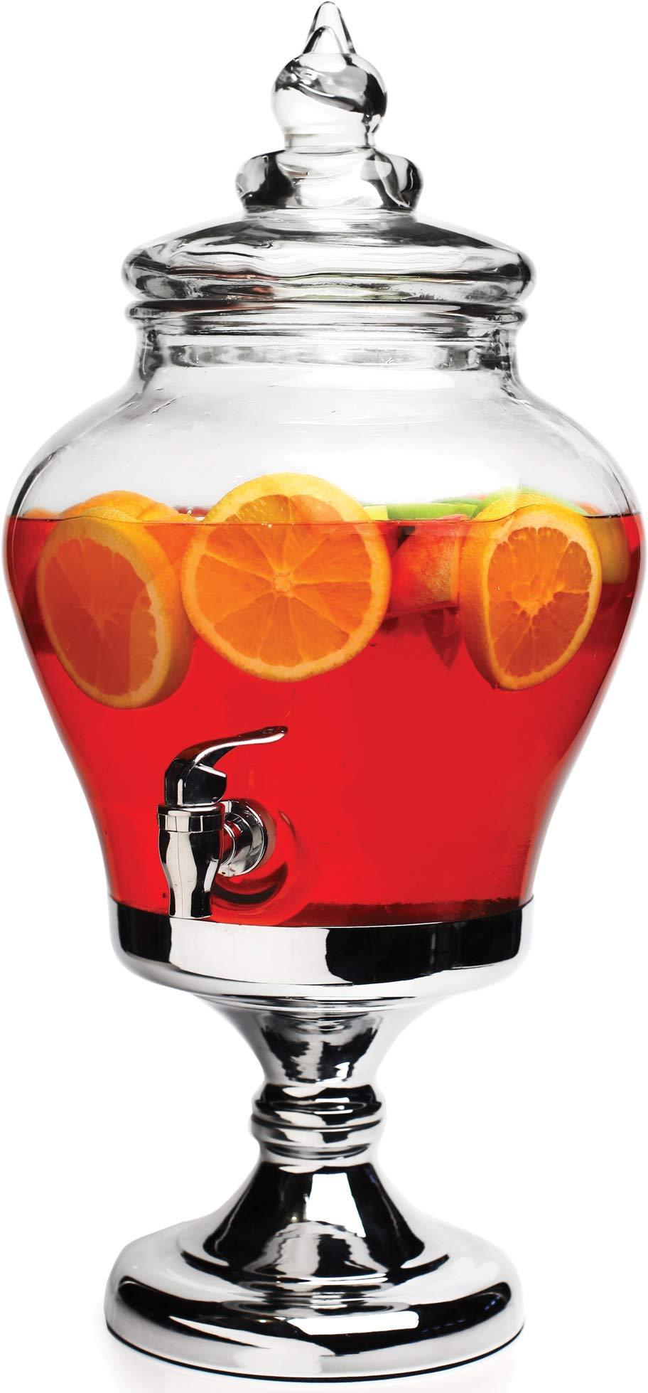 Circleware 69170 Sun Tea Jar Beverage Dispenser and Glass Lid on Chrome Stand Party Entertainment Home Kitchen Glassware Water Pitcher for Juice, Beer, Kombucha Cold Drinks, 2.2 Gallon Portico