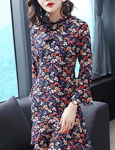 Cotylédons Women`s Robes Imprimées Flare Manches D'une Ligne Robe De Coupe Slim Bleu