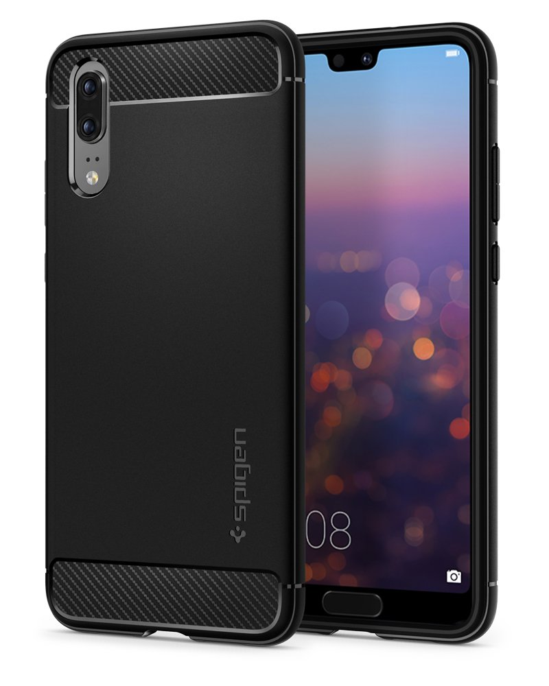 Huawei P20 Cover, Spigen [Rugged Armor] Awesome Black [Durable Mechanical Design] Maximum Protection from Falls and Shock - Case huawei P20 Cover, huawei P20 Cover - Black (L21CS23080)