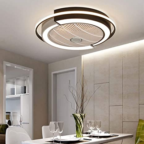 23 Inch Ceiling Fan With Light And Remote Control Bedroom Low Profile Modern Ceiling Fan Light Kit Led Chandelier Ceiling Fan White 3 Colors Dimming 3 Speed Timing Silent Small Ceiling Fan