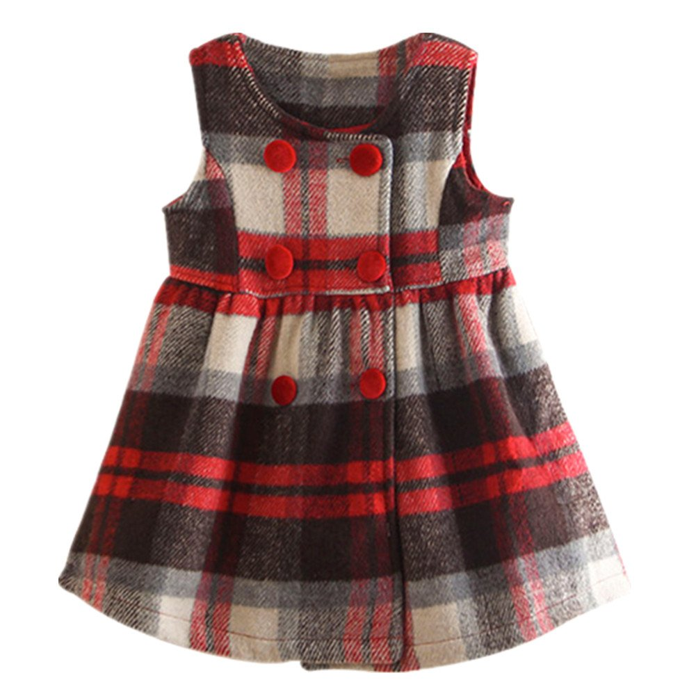 LittleSpring Girls Jumper Dress Fleece Plaid 2-7 Years SLS-Q0244