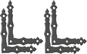 BRESKO 4 PC 3.94 Inch x 3.94 Inch 90° Decorative Flat Angle Bracket for Barn Corner Door Brackets Hardware Gates Rustic Hammered Iron Black Finish