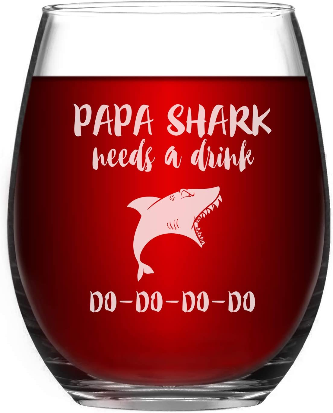 Papa Shark Needs a Drink Do Do Wine Glass Fathers Day Gifts for Dad Father from Daughter Son Funny Shark Gifts for Dad Papa Friends Shark Lovers Men Grandpa Dad 15Oz