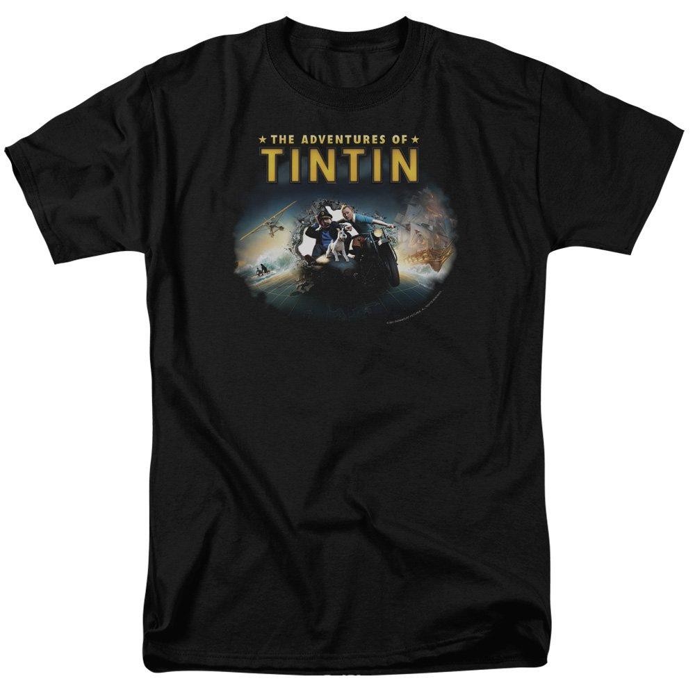 S Tintin Title Adult Tshirt