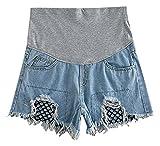 Hibukk Light Blue Torn Net Underlay Detail Full Panel Denim Maternity Shorts, FishnetJean 2,Manufacturer(M)