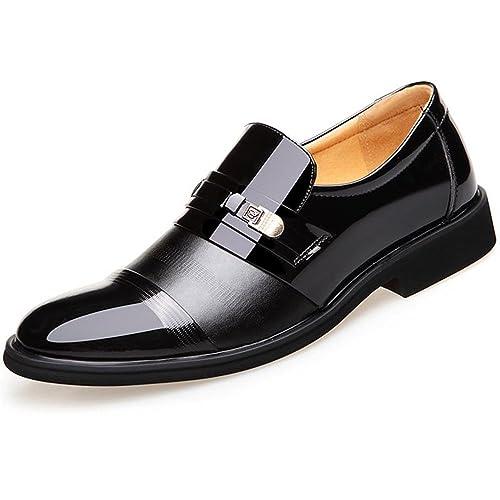 3bcac14c274eb Blivener Men's Tuxedo Patent Leather Dress Shoes Slip on Oxfords